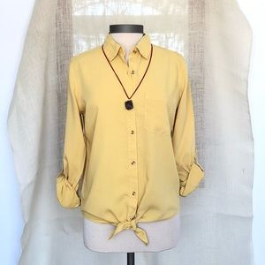 NEW❗️Yellow Mustard Tie Front Button-down Shirt
